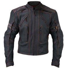 Mens Black Biker Leather Jacket with Orange Stitching  #BlackBikerLeatherJacket #BikerJacket #WinterJacket #OrangeStitchingJacket #BlackBikerLeatherJacket #BikerJacket #ebayBikerJacket #EbayMotorcycleJacket #OrangeStitchingBikerJacket
