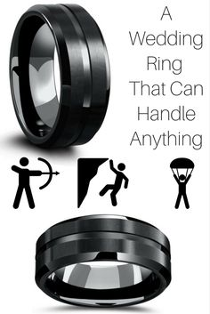 My Fiancé is always on the go and seeking the next adventure. He would love this all black tungsten carbide wedding ring. It extremely durable and comfortable. I love the matte top with the black polished channel.
