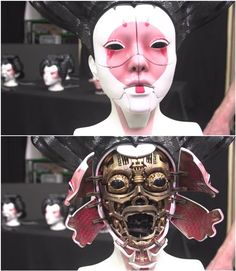 Adam Savage and Richard Taylor from the Weta Workshop have given audiences a glimpse into how the special effects magic of the upcoming Ghost in the Shell film were realized. See how printing played a part in making the film's stunning robot geisha masks. Robot Concept Art, Robot Art, Character Concept, Character Design, Arte Cyberpunk, Futuristic Art, Korean Art, Ghost In The Shell, 3d Prints