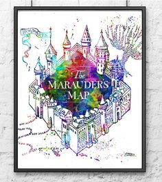 Hogwarts Castle, Harry Potter, Hogwarts Poster, Movie Poster, Watercolor Print, Kids Decor, Wall Art, Children Room Decor, Home Decor - 431