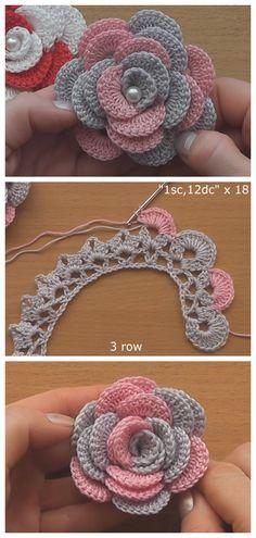 Crochet Flowers 90 FREE Crochet Flower Patterns Visit the post for more. Crochet Leaves, Crochet Motifs, Thread Crochet, Crochet Crafts, Crochet Doilies, Crochet Stitches, Crochet Projects, Crochet Owls, Knitted Flowers