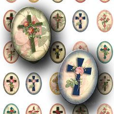 INSTANT DOWNLOAD Floral Crosses Digital Collage by greenvalley (Craft Supplies & Tools, Scrapbooking Supplies, Scrapbooking Clip Art, digital images, cross, religious, roses, inspirational, christian, bible, christ, printable, oval, cabochon, cameo)