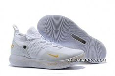bcbeec2b0d0d 2018 Nike KD 11 White Metallic Gold Basketball Shoes For Sale Online