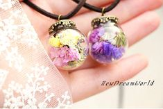 glass ball necklace with dried flowers glass orb filled with dried blossom,tiny necklace,glass vial necklace