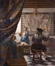 El arte de la pintura hacia 1666  En los tres siguientes y buscó continuar con la minuciosidad de los tres cuadros de mujeres anteriores y desarrollando un efecto espacio mucho más complejo. Tanto en La