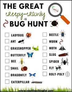Take your kids on a bug hunt! This free printable bug scavenger hunt is a great outdoor activity for kids   to take camping, hiking, or out to the backyard. Let the bug hunt begin! #bughunt #scavengerhunt #outdooractivities