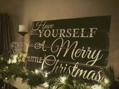 Pallet Sign, Christmas Sign, Painted Wood Sign, Have Yourself A Merry Little Christmas Pallet Sign by NeverBoardDesigns on Etsy https://www.etsy.com/listing/208787754/pallet-sign-christmas-sign-painted-wood