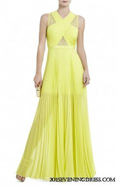 BCBG CAIA yellow CHIFFON-PLEATED EVENING GOWN