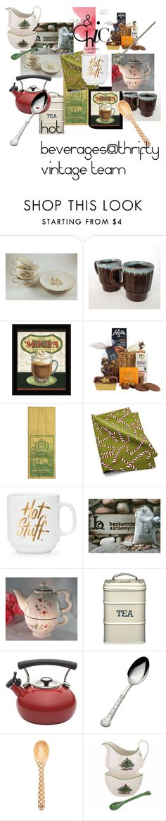 Hot Beverages@Thrifty Vintage Team by jjantiq on Polyvore featuring interior, interiors, interior design, home, home decor, interior decorating, Spode, Circulon, Crate and Barrel and Wallace