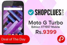 """Shopclues #DealofTheDay is offering 35% off on #MotoGTurboEdition #Mobile XT1557 Only at Rs.9399. Dual Sim LTE + LTE, 1920 x 1080, 30 fps, 1 year manufacturer warranty for Phone, Resolution 1280 x 720 Pixels, Corning Gorilla Glass 3, 5"""" Screen, 2470 mAh Li-Ion Battery, 2 GB RAM, 16 GB ROM, 1.5 GHz + Qualcomm Snapdragon Octa Core Processor. Shopclues Coupon Code – SCDSOPN460   http://www.paisebachaoindia.com/moto-g-turbo-edition-xt1557-mobile-only-at-rs-9399-shopclues/"""