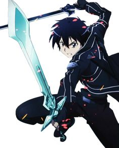 In SAO, Kirito typically wields the Dark Repulser, a sword made by talented blacksmith Lizbeth (who is also one of Kirito's friends) and Elucidator, a drop from the boss of the 50th floor in SAO. Description from screwattack.com. I searched for this on bing.com/images