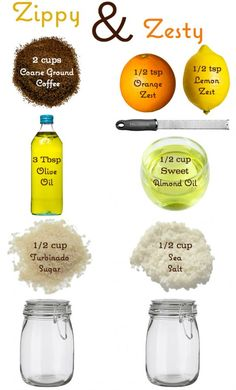 Coffee and citrus homemade body scrub ~ perfect.  I've been looking for something like this...