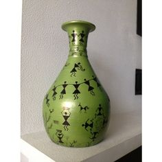 Warli art on Terracotta flower vase. Can be used for dry floral arrangement or just as a decorative item.