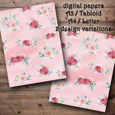 DIGITAL PAPERS Bloomy peonies rose. Printable digital | Etsy Digital Papers, Digital Collage, Paper Pocket, Peony Rose, Handwritten Letters, Printed Pages, Vintage Flowers, Vintage Floral