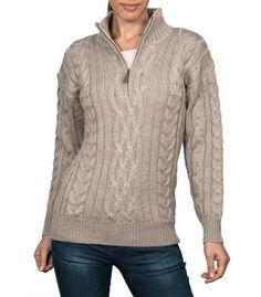 Aran Sweater| British Wool | Unisex | F18 | WoolOvers.de | Stonegrey