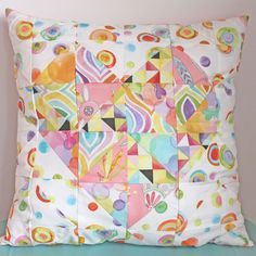 quilted heart pillow by Tamara Kate using Flight Patterns fabrics