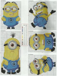 Despicable Me Minions Cross Stitch (Anchor and DMC colours) Page B Cross Stitch For Kids, Cross Stitch Baby, Cross Stitch Charts, Cross Stitch Designs, Cross Stitch Patterns, Cross Stitching, Cross Stitch Embroidery, Embroidery Patterns, Counted Cross Stitches
