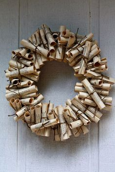 Book Wreath Tutorial - old book pages (old hymnal or music book) Old Book Crafts, Book Page Crafts, Christmas Wreaths, Christmas Crafts, Christmas Decorations, Christmas Book Art, Paper Decorations, Noel Christmas, Valentine Decorations
