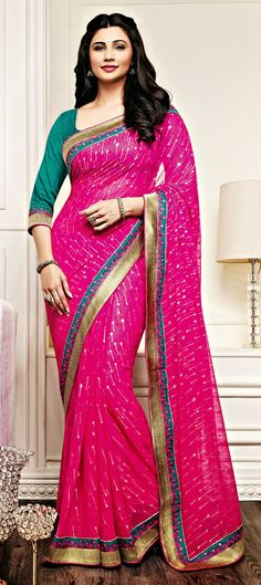 161632: Pink and Majenta color family Party Wear Sarees with matching unstitched blouse.