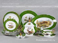 Купить Столовый сервиз фарфоровый 25 предметов (обеденный сервиз) Леандер (Leander). Посуда Зеленая лента, охотничьи сюжеты. Мэри-Энн. http://www.posudaserviz.ru/ids0763.php