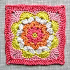 Crochet Pattern Flower Coaster Square