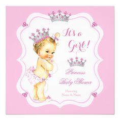 Vintage princess baby shower princess baby shower invitations blonde princess baby shower girl pink gems pearl filmwisefo