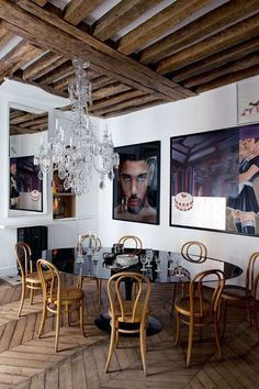 dining room with big photos on the walls