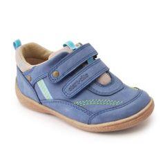 Start-rite Super Soft Leo, Blue Leather Boys Riptape First Walking Shoes