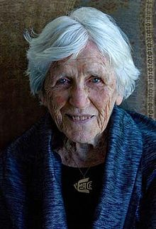 A photo of the Canadian centenarian Muriel Duckworth, taken in honor of her 100th birthday in 2008.