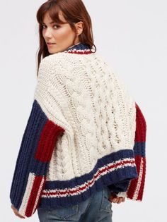 East Gate Cable Knit Bomber at Free People Clothing Boutique Knitwear Fashion, Knit Fashion, Sweater Fashion, Coats For Women, Jackets For Women, Clothes For Women, Women's Jackets, Fall Jackets, Knitting Designs
