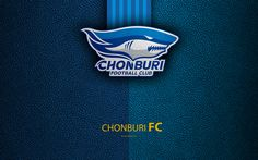 Download wallpapers Chonburi FC, 4K, Thai Football Club, logo, Chonburi emblem, leather texture, Chonburi, Thailand, Thai League 1, football, Thai Premier League