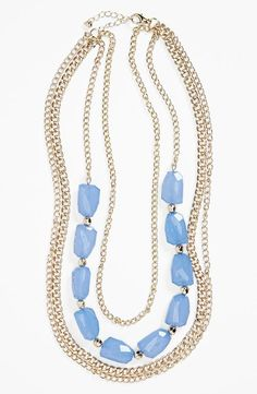 Love! Light Blue Layered Chain Necklace