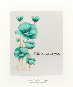 Thinking Of You - Hero Arts stamps and Copic pens. Hero Arts Cards, Poppy Cards, Copics, Copic Pens, Copic Markers, Mothers Day Cards, Card Making Inspiration, Watercolor Cards, Sympathy Cards