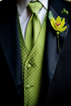 Spring Green Vests/Ties with Black Tux for Groomsmen