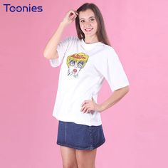 >> Click to Buy << Toonies Summer 2017 Women T Shirt Korean Chic Style Cartoon Romance Printing Ladies Cotton All-match Loose T-shirt Girl Elegant #Affiliate