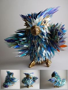 His sculptures are made from old cds. I emailed and offered to send him a bunch of mine. Nice guy.