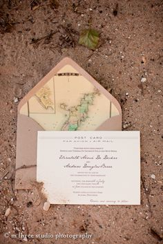 Travel-inspired wedding invitations by Courtney Callahan Paper McNamara Lahaye Austria Wedding Stationary, Wedding Invitations, Map Invitation, Vintage Travel Wedding, Travel Party, Event Planning Design, Marry You, Nautical Wedding, Travel Themes