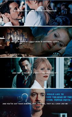 Tony Stark and Pepper Potts: there break---- which i REFUSE to accept! Memes Marvel, Marvel Quotes, Avengers Quotes, Marvel Fan, Marvel Avengers, Marvel Comics, Tony And Pepper, Ironman, Iron Man Tony Stark