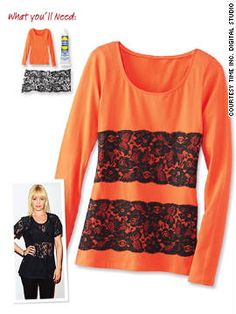 WHAT YOU'LL NEED Long-sleeve cotton T-shirt, Unique Stitch glue, 1 yard 6-inch-wide lace trim, scissors. HOW-TO 1. Lay lace trim across width of T-shirt, about 2 inches from the bottom. Cut lace to line up with side seams of shirt. 2. Dot glue on back of lace, and lay in place on shirt. 3. Secure lace by applying a thin line of glue around entire perimeter of lace edge. 4. Repeat with a second strip, about 2 inches above the first. 5. Let dry for 24 hours. (Hand Wash.)