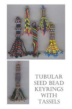Keyrings/scissor tassels - peyote spirals