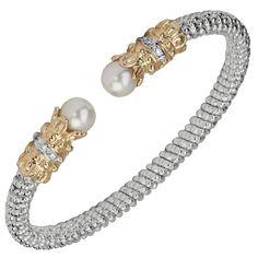 Sterling silver and 14 karat yellow gold Diamond cuff bracelet Custom Design, Fine Jewelry, Beaded Bracelets, Glitter, Engagement Rings, Sterling Silver, Diamond, Yellow, Gold