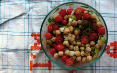 green olive chickpea tomato salad....