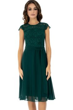 Rochie verde, ROH, eleganta - DR3622 Short Sleeve Dresses, Dresses With Sleeves, Casual, Fashion, Green, Moda, Sleeve Dresses, La Mode, Gowns With Sleeves