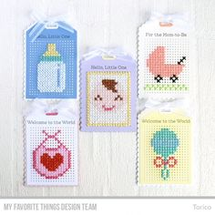 Stamps: Hello, Little One Die-namics: Scallop Cross-Stitch Tag, Cross-Stitch Tag  Torico   #mftstamps
