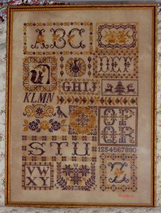<3 cross stitch sampler, many finished beautiful works