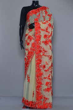 Wedding Silk Saree, Embroidery Saree, Designer Sarees Online, Party Wear Sarees, Saree Blouse Designs, Silk Sarees, Kimono Top, Beige, Pure Products
