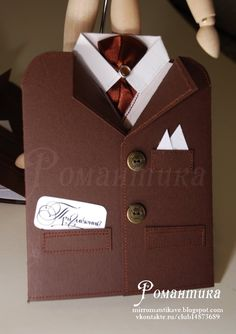 Романтика: Февраль 2011  Opens up with vest inside, really very cute suit card.