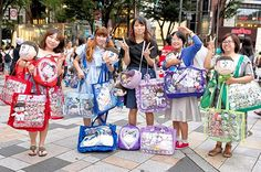 Fun - and very dedicated - Osomatsu fans we met on the street in Harajuku!