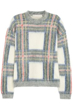 Stella McCartney | Plaid-intarsia knitted sweater | NET-A-PORTER.COM