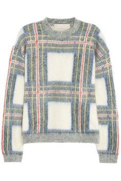 Stella McCartney|Plaid-intarsia knitted sweater|NET-A-PORTER.COM